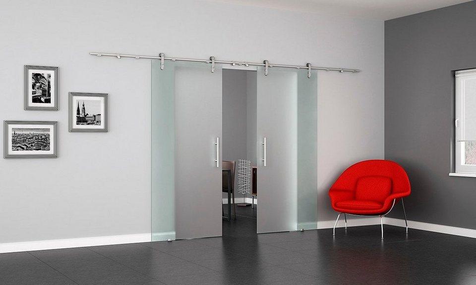 Doppel-Glasschiebetür »Levidor VA Satiniert« mit Stangengriff in weiß