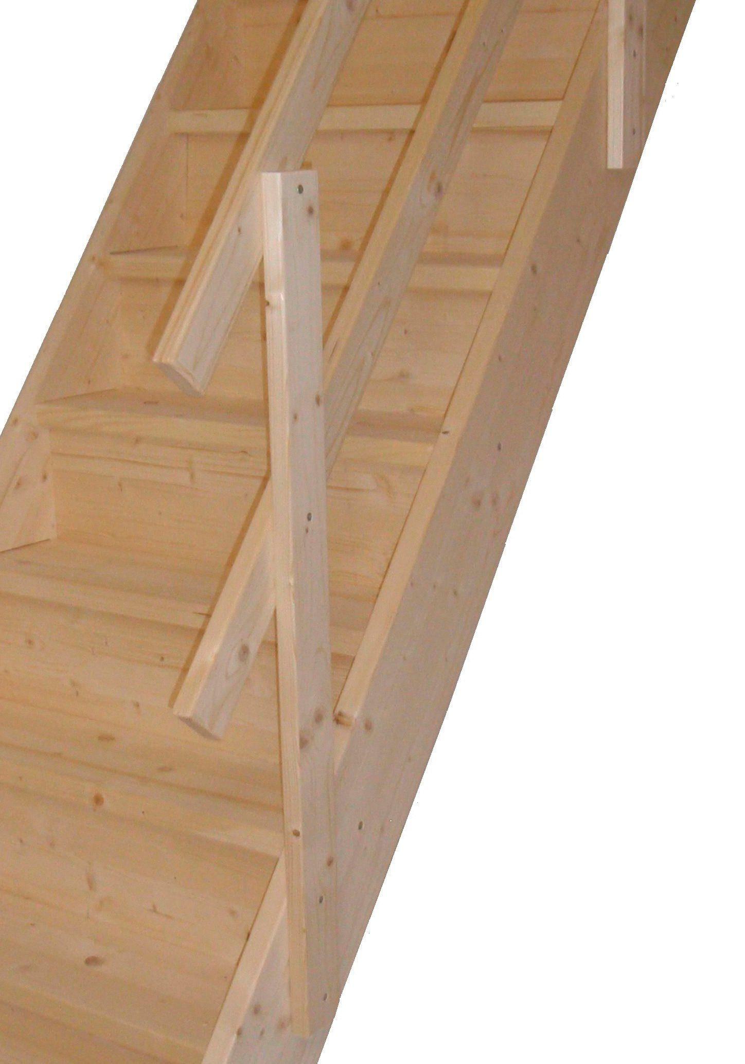 STARWOOD Raumspartreppe »Rhodos«, offene Stufen, gerade, Holzgeländer rechts