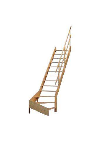 STARWOOD Raumspartreppe »Korfu«, offene Stufen, 1/4 rechts gewendelt, Holzgeländer rechts