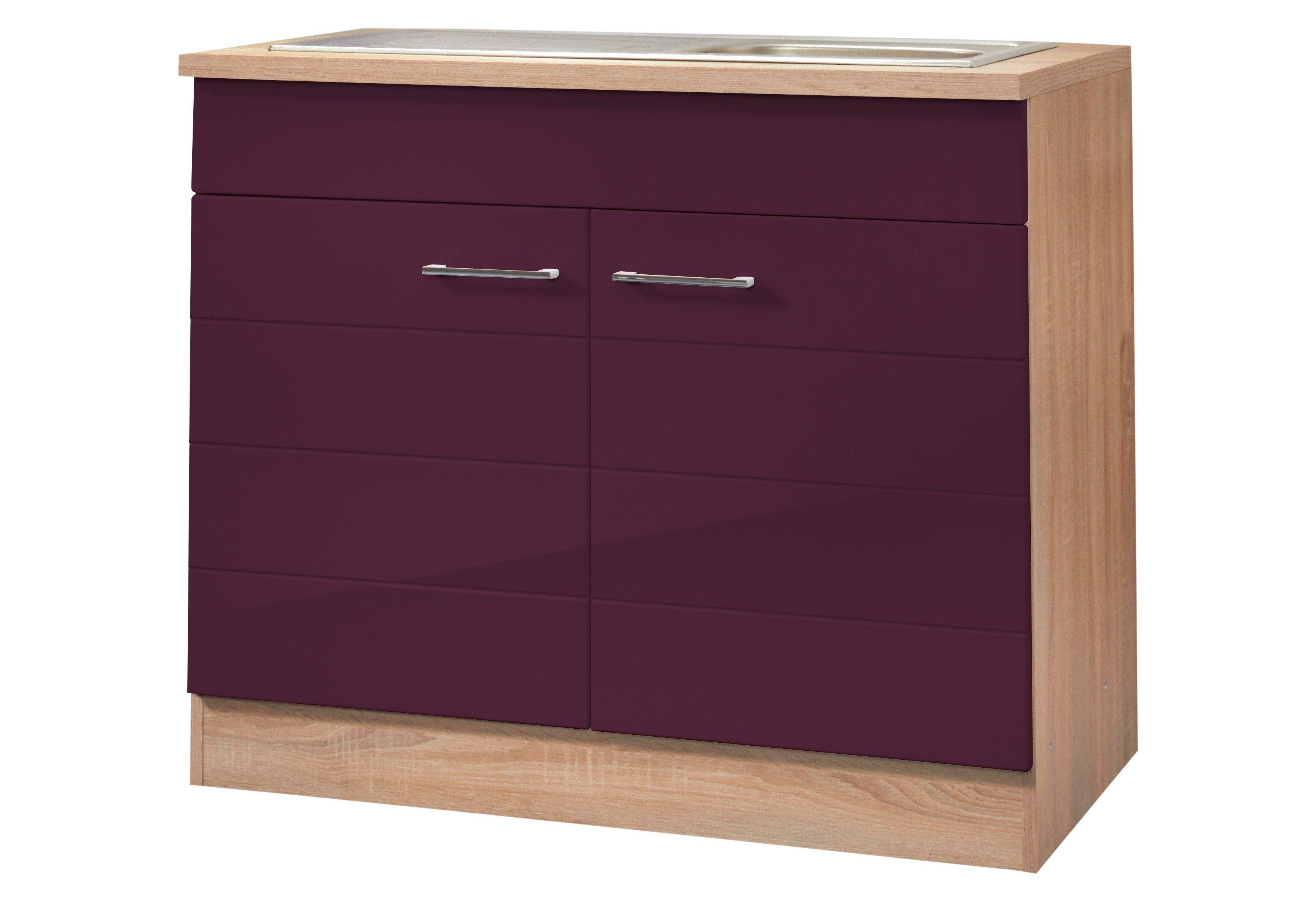HELD MÖBEL Spülenschrank »Emden, Breite 100 cm« | Küche und Esszimmer > Küchenschränke > Spülenschränke | Holzwerkstoff - Edelstahl | HELD MÖBEL