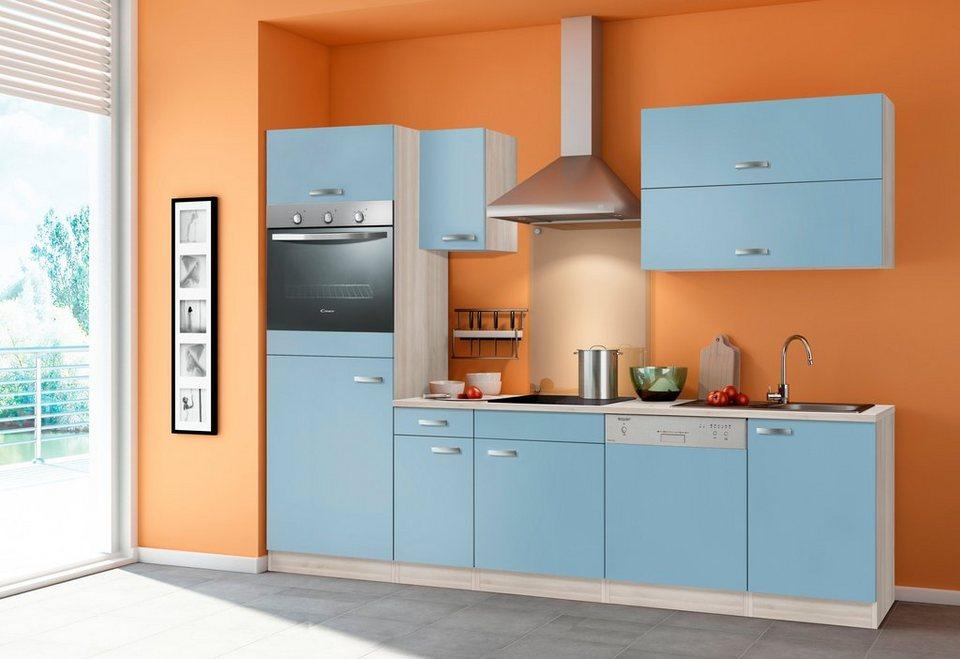 Optifit Küchenzeile mit E-Geräten »Skagen«, Breite 270 cm - mit Geschirrspüler in akaziefarben/blau
