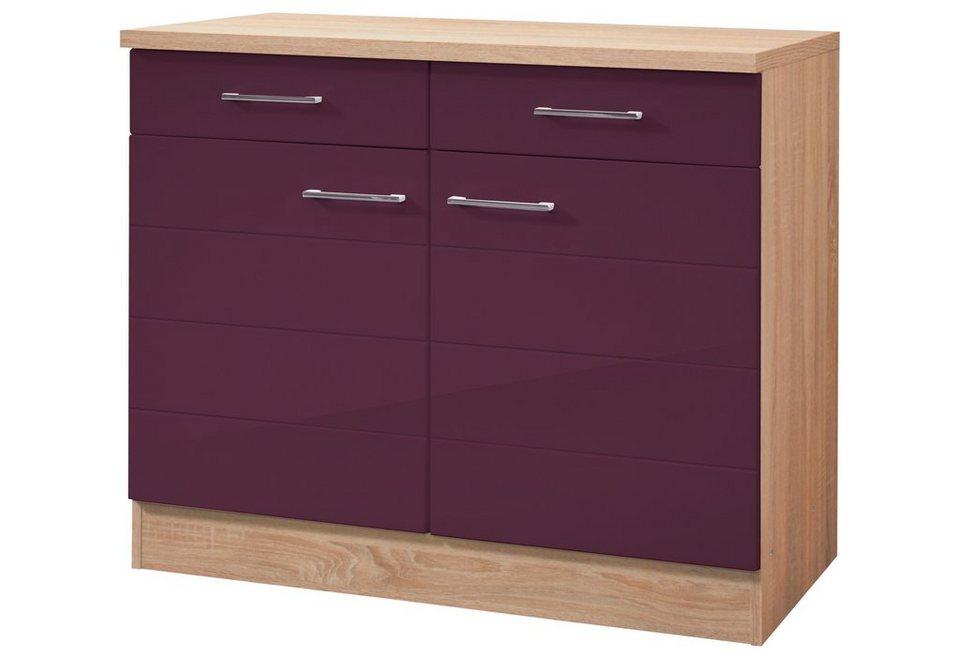 Küchenunterschrank »Emden«, Breite 100 cm in eichefarben/auberginefarben