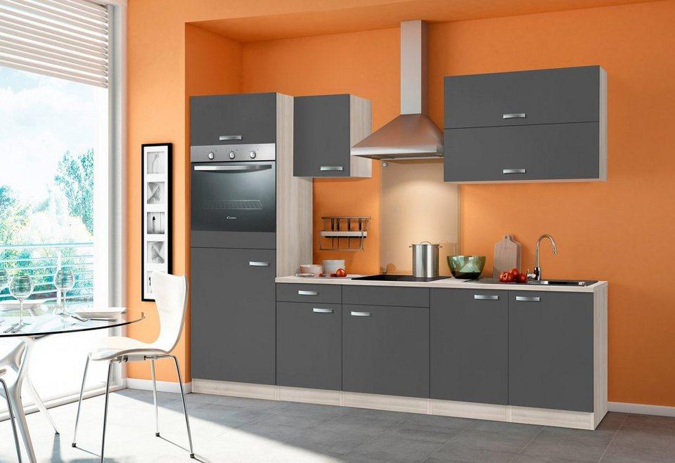 Küchenzeile mit E-Geräten »Skagen«, Breite 270 cm - ohne Geschirrspüler in akaziefarben/anthrazit