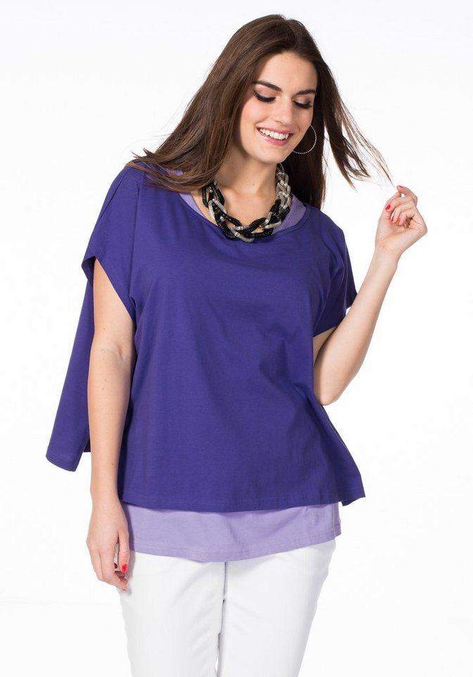 sheego Trend Zweiteiliges Set aus Shirt und Top in flieder/lila