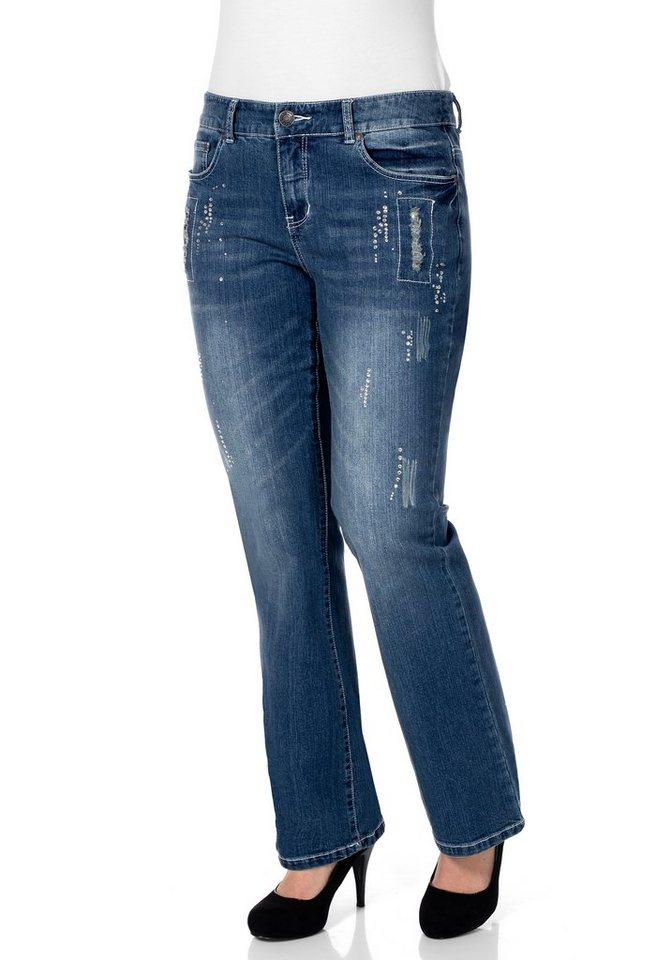Sheego Denim Bootcut Stretch-Jeans in blue denim
