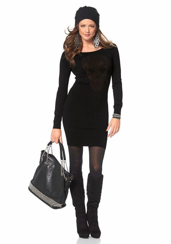 Melrose Strickkleid mit Strass-Totenkopf in schwarz