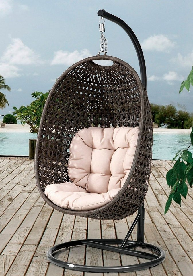 destiny h ngesessel cocoon polyrattan beige inkl sitz und r ckenkissen online kaufen otto. Black Bedroom Furniture Sets. Home Design Ideas