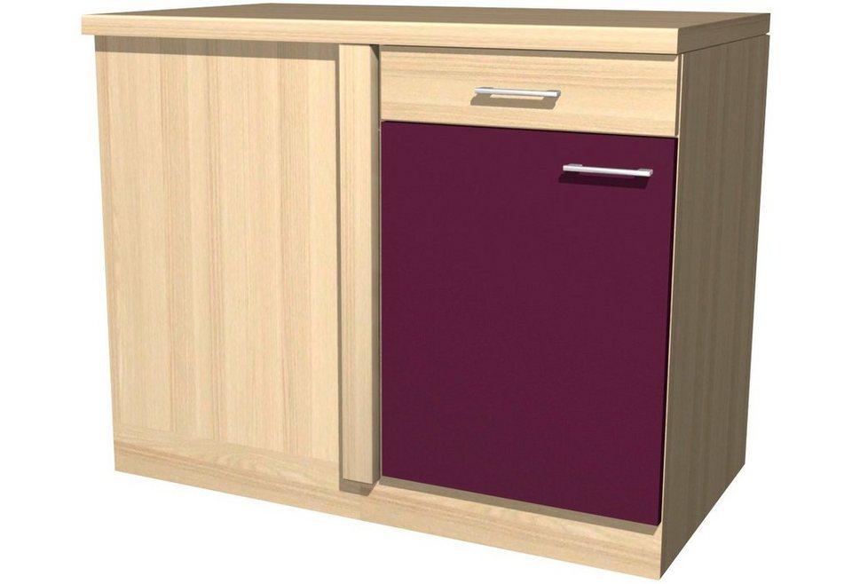 Eck-Unterschrank »Portland«, Breite 110 cm in akaziefarben/auberginefarben