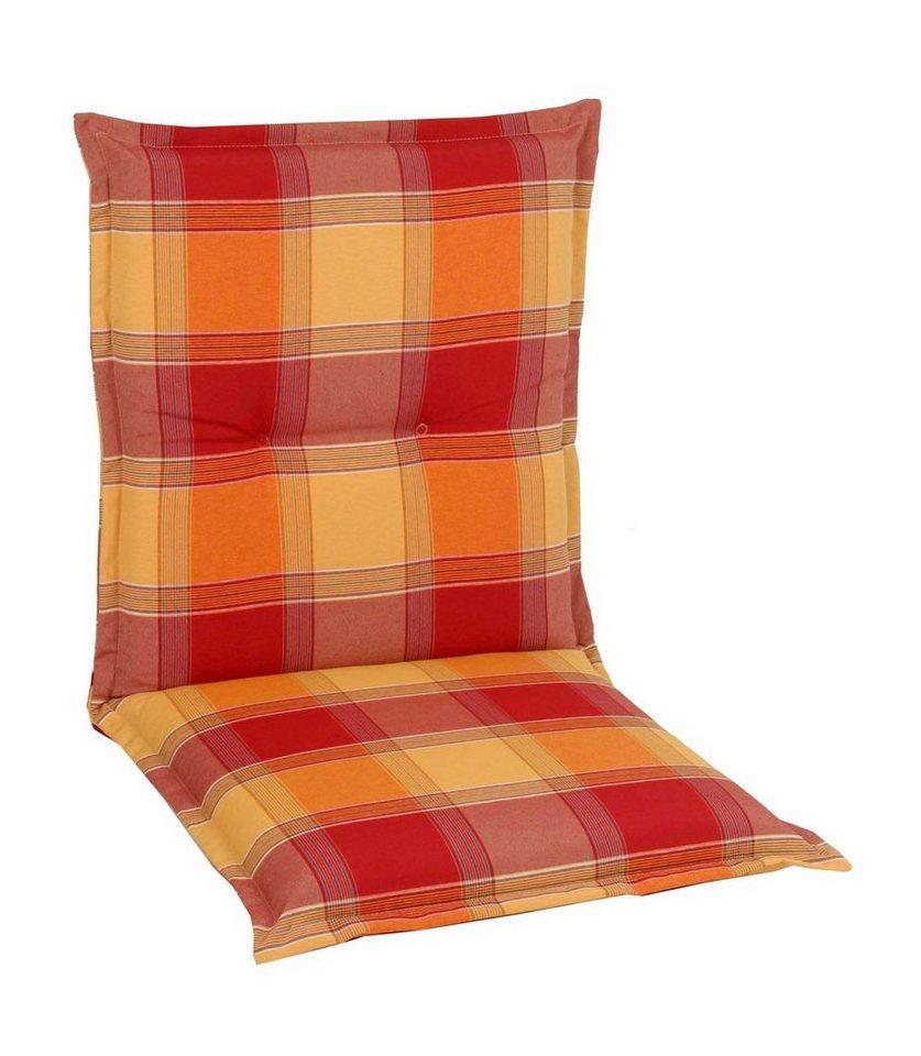 Sesselauflage (2 Stück) in gelb/rot/terracotta