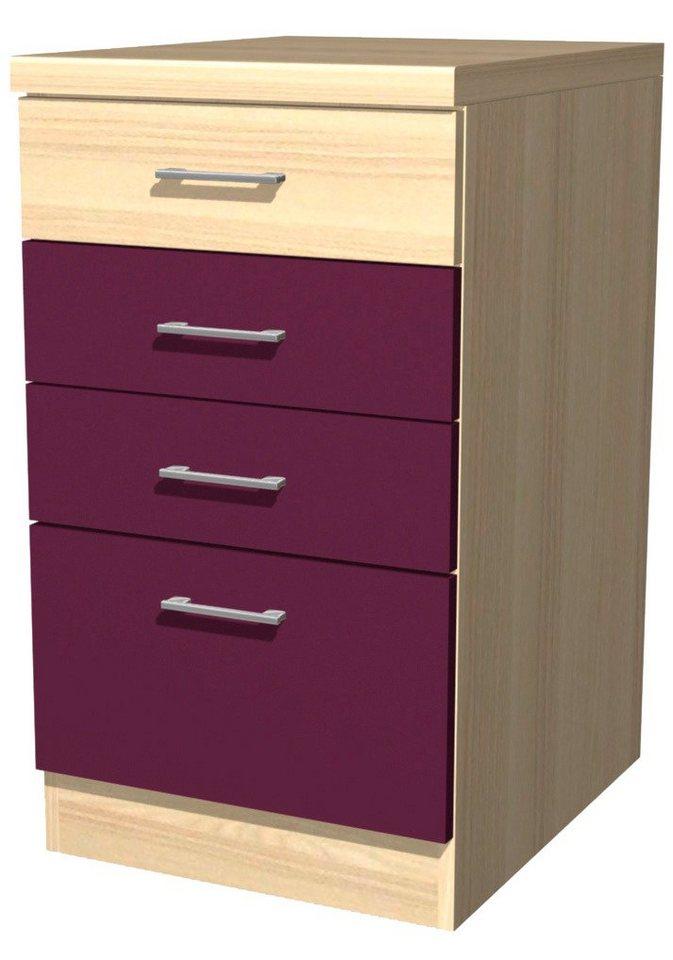 Küchenunterschrank »Portland«, Breite 50 cm in akaziefarben/auberginefarben