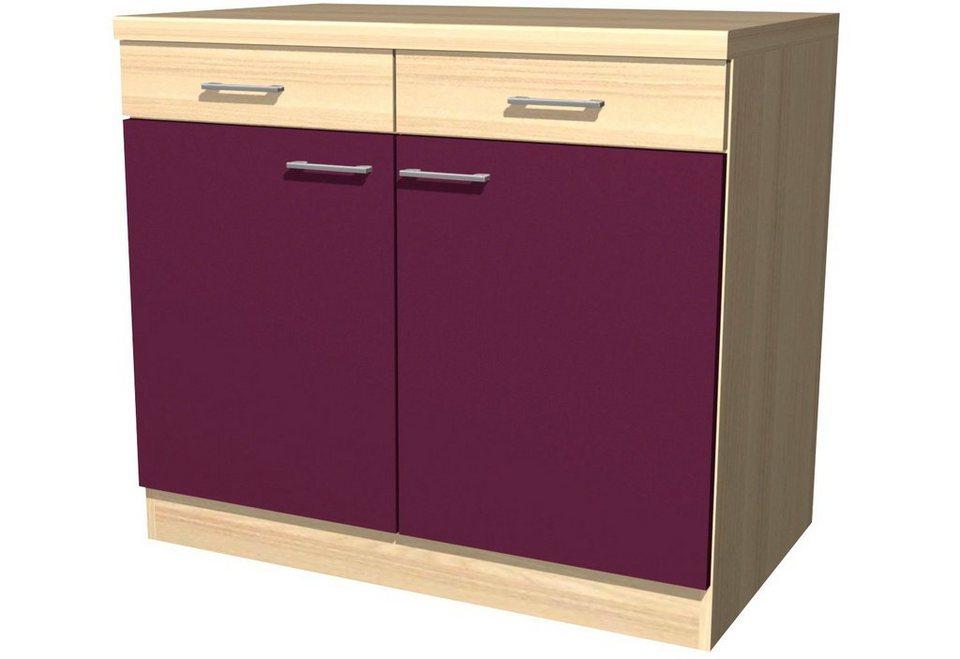 Küchenunterschrank »Portland«, Breite 100 cm in akaziefarben/auberginefarben