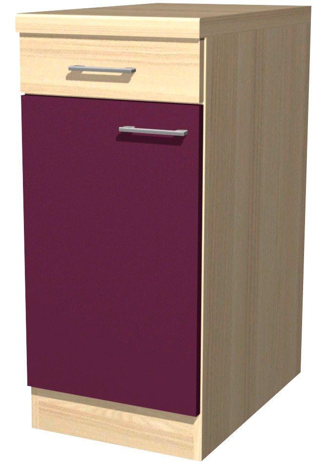 Küchenunterschrank »Portland«, Breite 40 cm in akaziefarben/auberginefarben