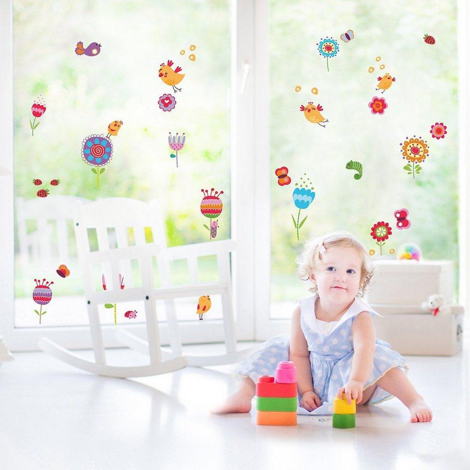 Fenster Sticker Blütenzauber, 39-tlg. in mehrfarbig