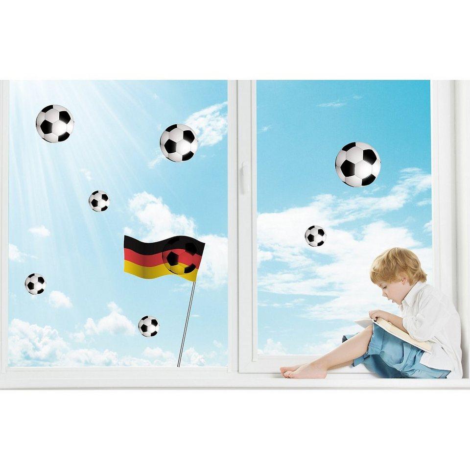 Fenster Sticker Fußball, 9-tlg. in mehrfarbig