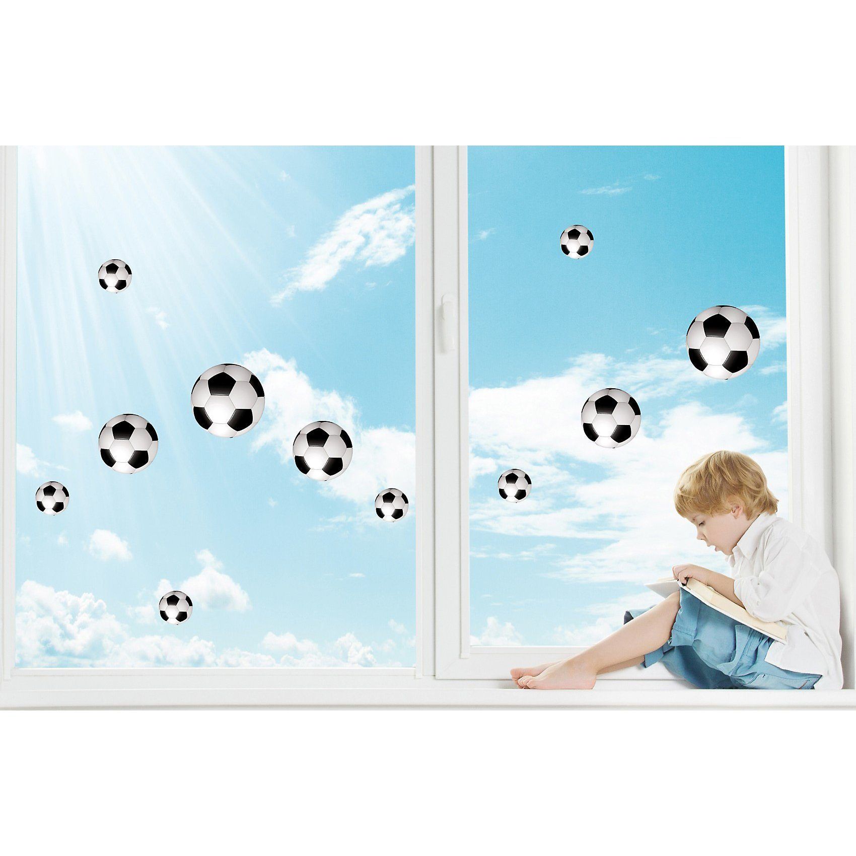 Fenster Sticker Fußbälle, 11-tlg.