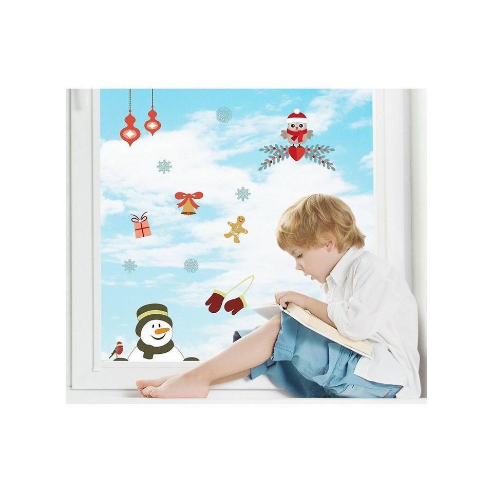 Fenster Sticker Weihnachtsmotiv Eule, 13-tlg. in mehrfarbig