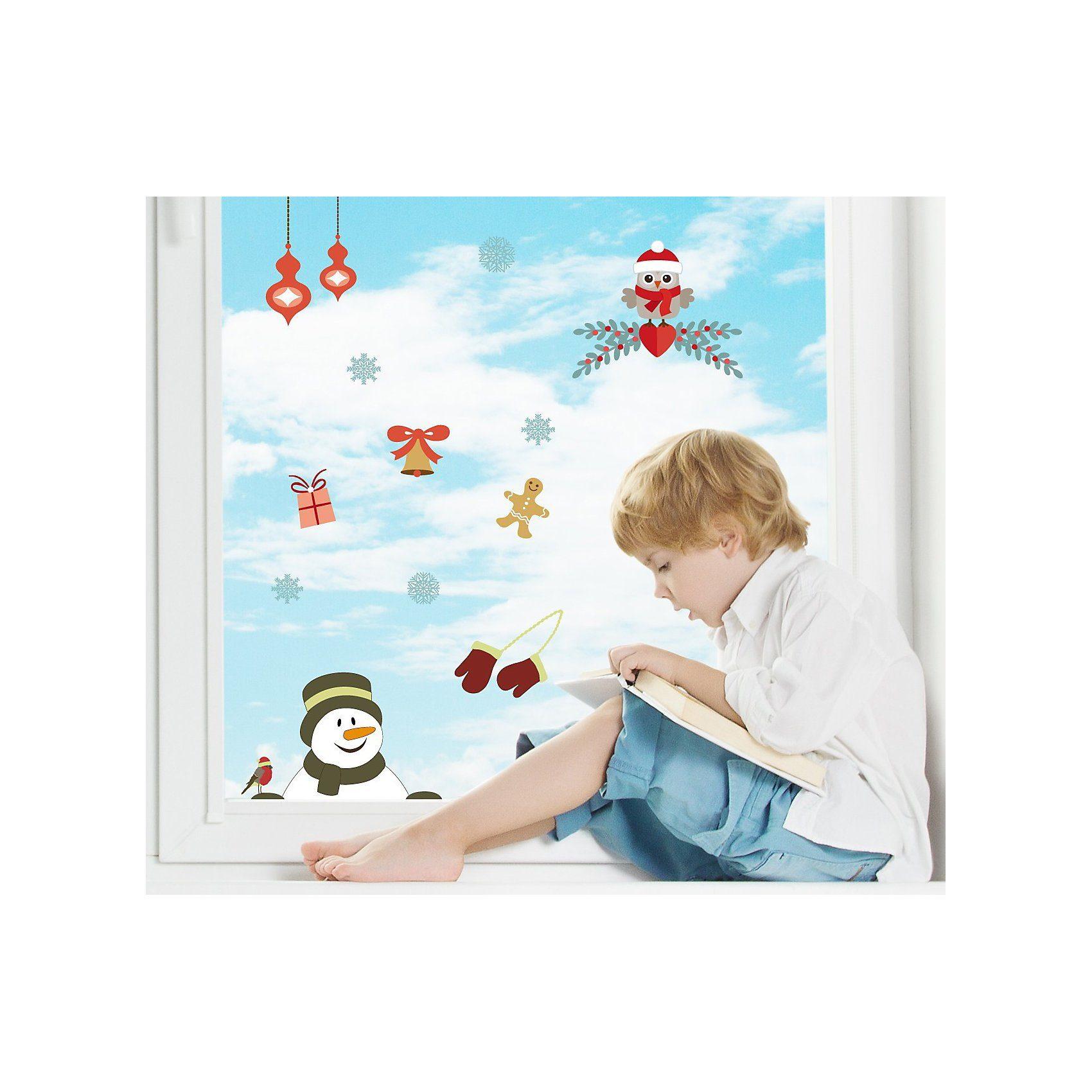 Fenster Sticker Weihnachtsmotiv Eule, 13-tlg.