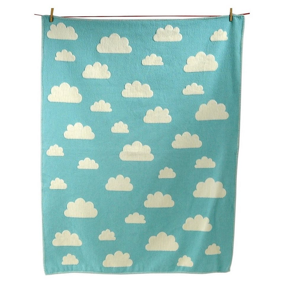 David Fussenegger Kuscheldecke Finn Wolken, Flanell, 100 x 130 cm in blau