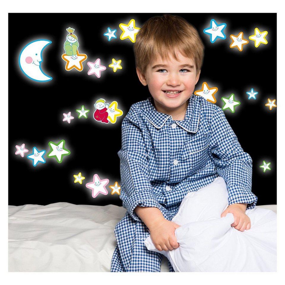 Wandsticker fröhliche Leucht-Sterne, 23-tlg. in mehrfarbig