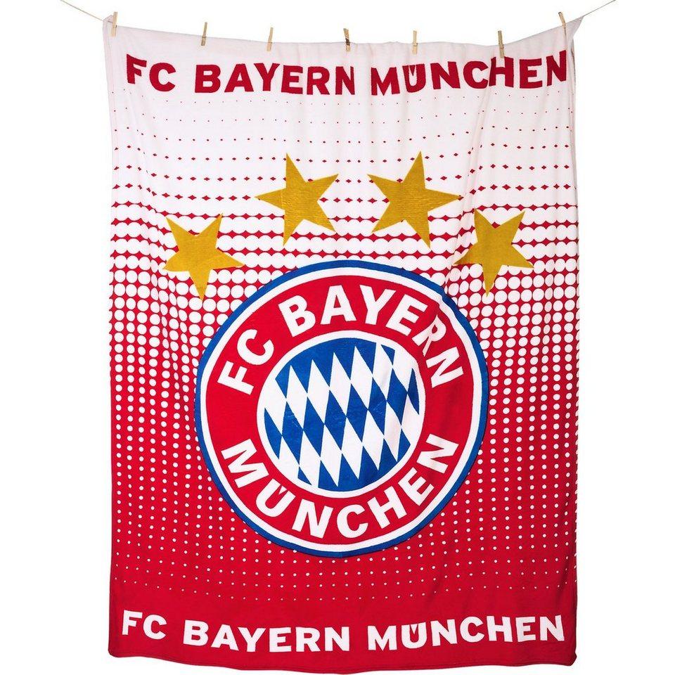 Kuscheldecke FC Bayern München Logo, 150 x 200 cm in rot