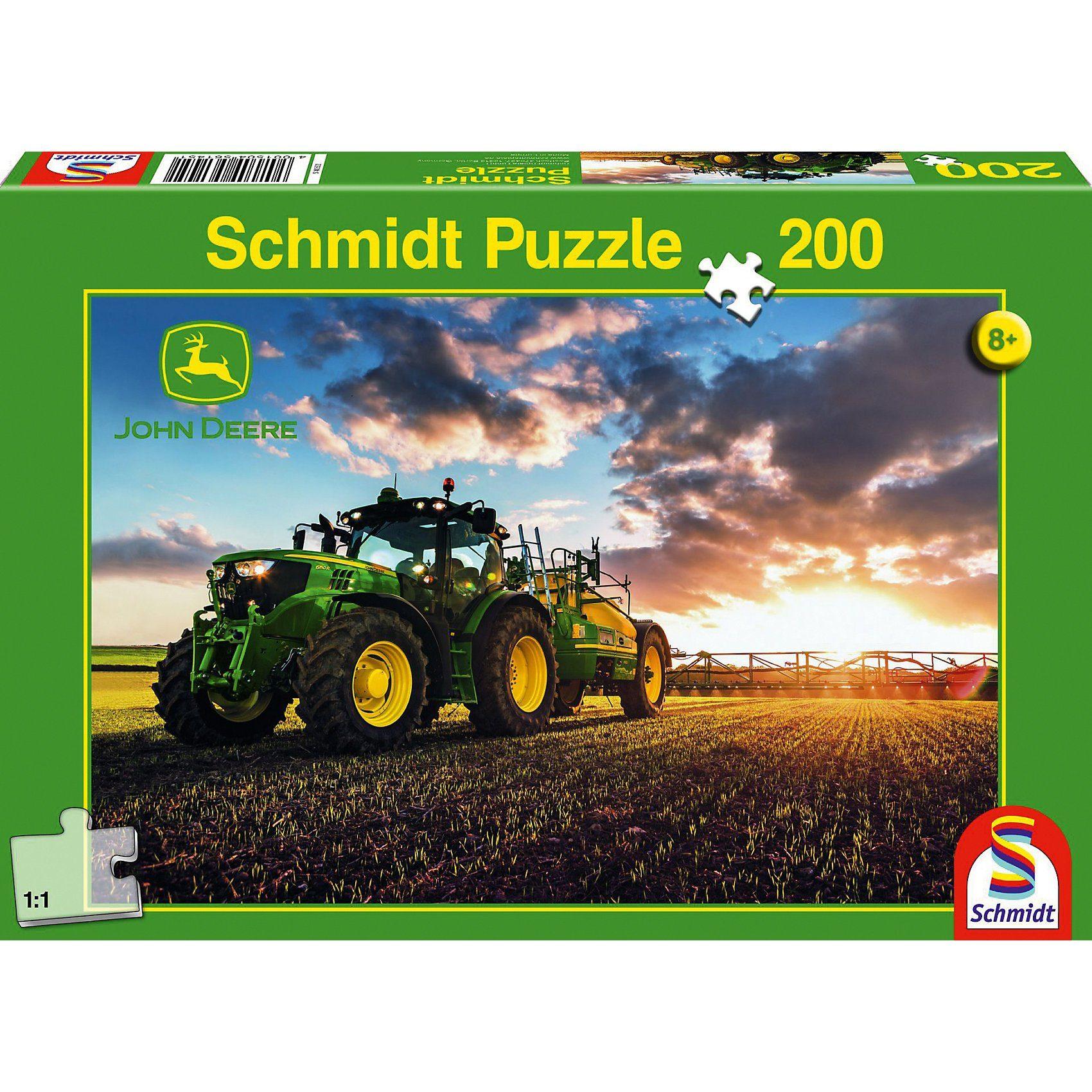 Schmidt Spiele John Deere, Traktor 6150R mit Güllefass, 200 Teile