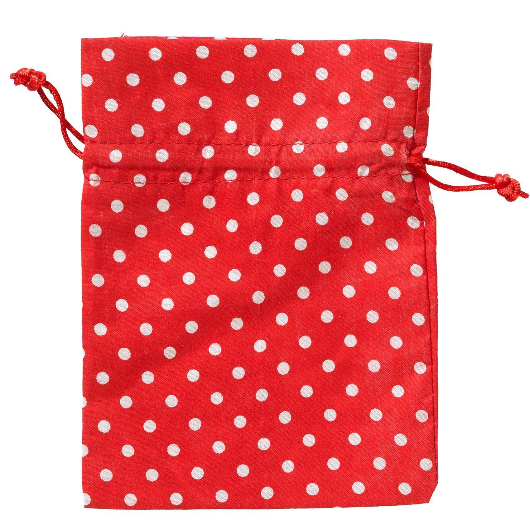 Hotex Stoffbeutel 13 x 18 cm Punkte rot-weiß, 10 Stück