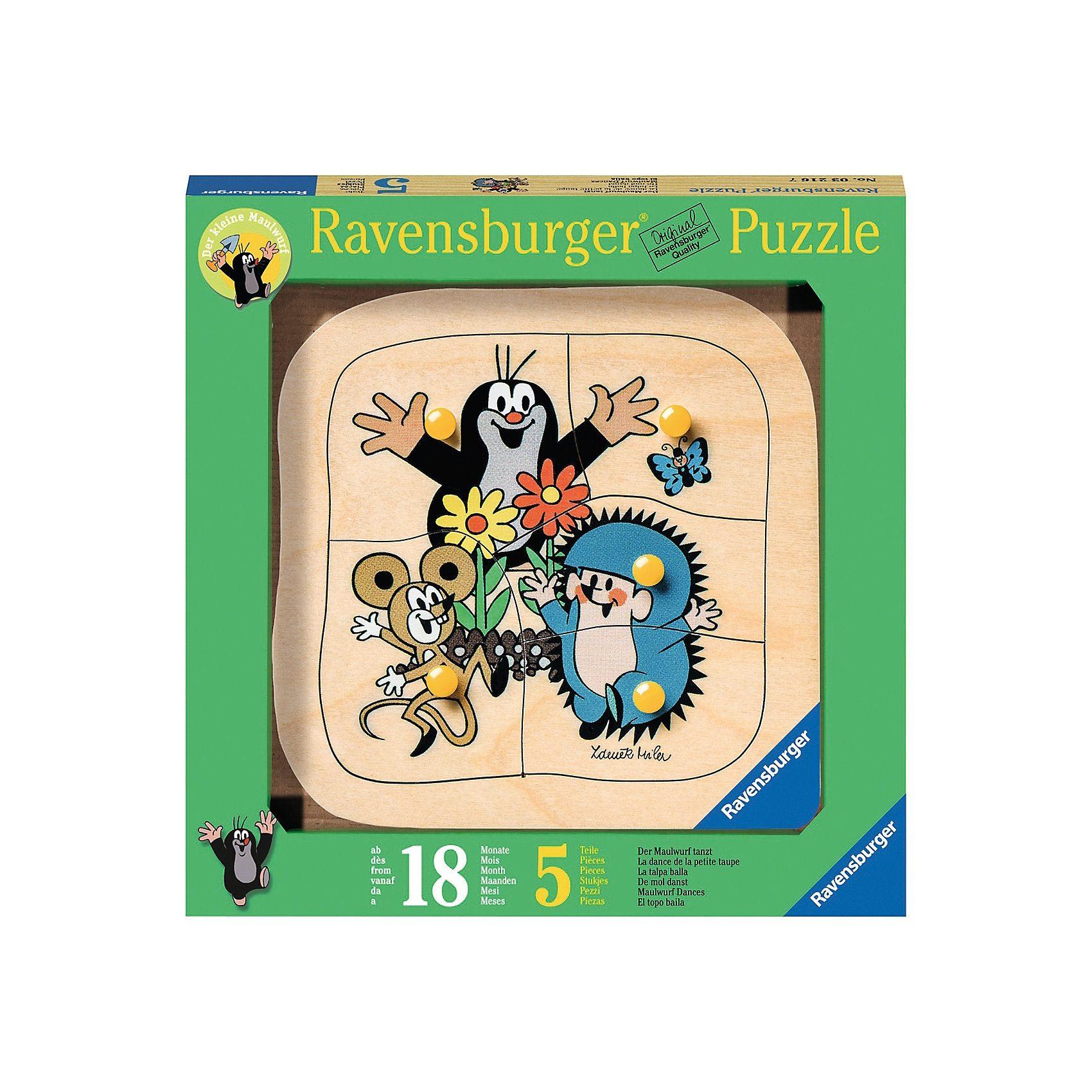 Ravensburger 5 Teile Konturholzpuzzle Der Maulwurf tanzt