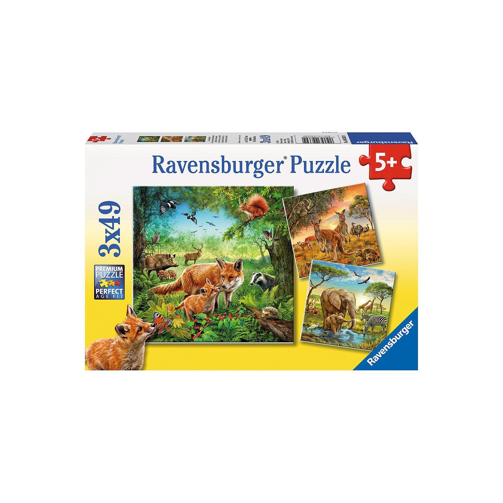 Ravensburger 3x49 Teile Tiere der Erde