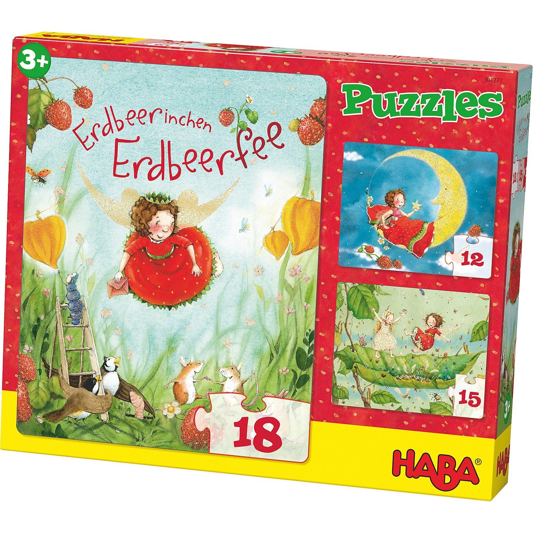 Haba 3 in 1 Puzzle-Set Erdbeerinchen Erdbeerfee