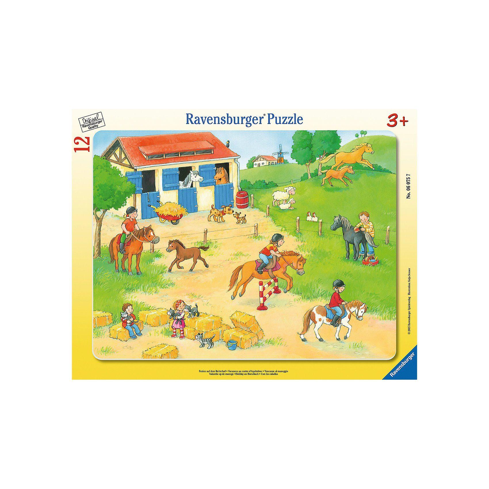 Ravensburger 12 Teile Rahmenpuzzle Ferien auf dem Reiterhof
