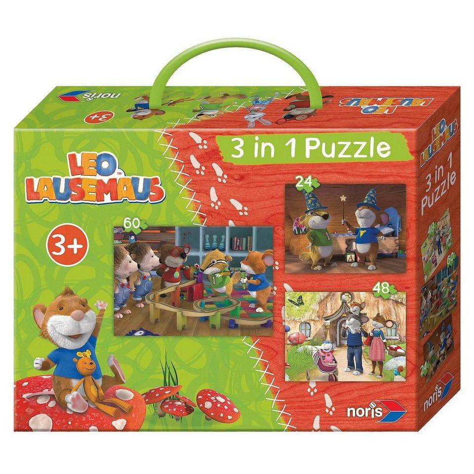 Noris Leo Lausemaus 3 in 1 Puzzlespaß