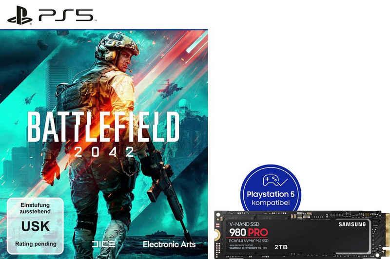 Samsung »980 PRO SSD 2TB + Battlefield 2042 PS5« interne SSD (2 TB) 7000 MB/S Lesegeschwindigkeit, 5100 MB/S Schreibgeschwindigkeit)