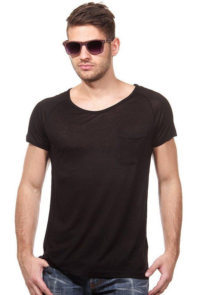 MCL T-Shirt Rundhals slim fit in schwarz