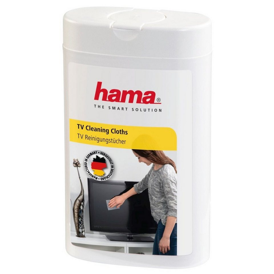 Hama TV-Reinigungstücher, 100 Stück, in ovaler Spenderdose in Weiß