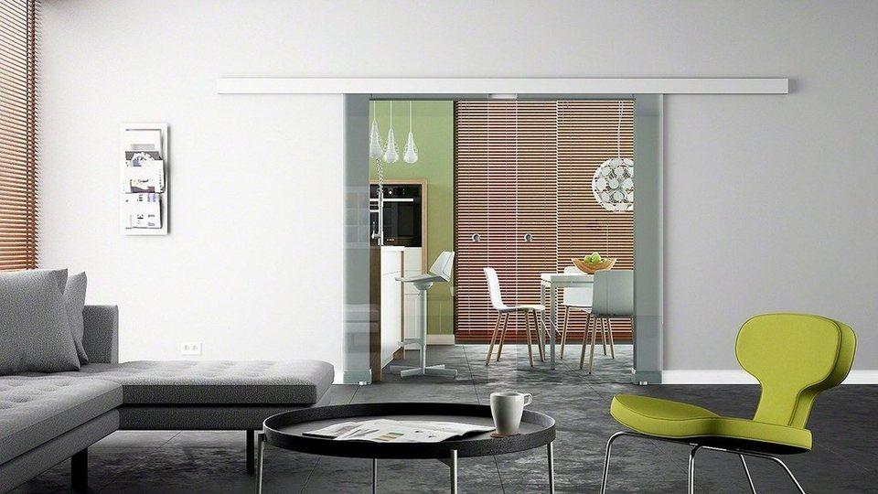 Doppel-Glasschiebetür »Levidor Eco Klarglas« mit Muschelgriff in weiß
