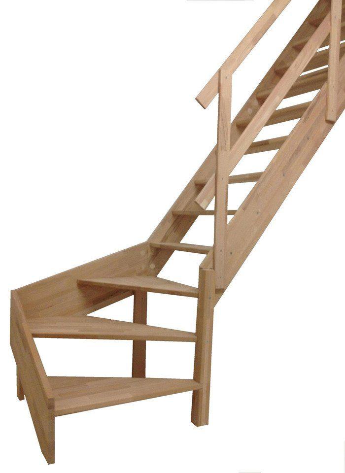 STARWOOD Raumspartreppe »Rhodos«, offene Stufen, 1/4 rechts gewendelt, Holzgeländer rechts