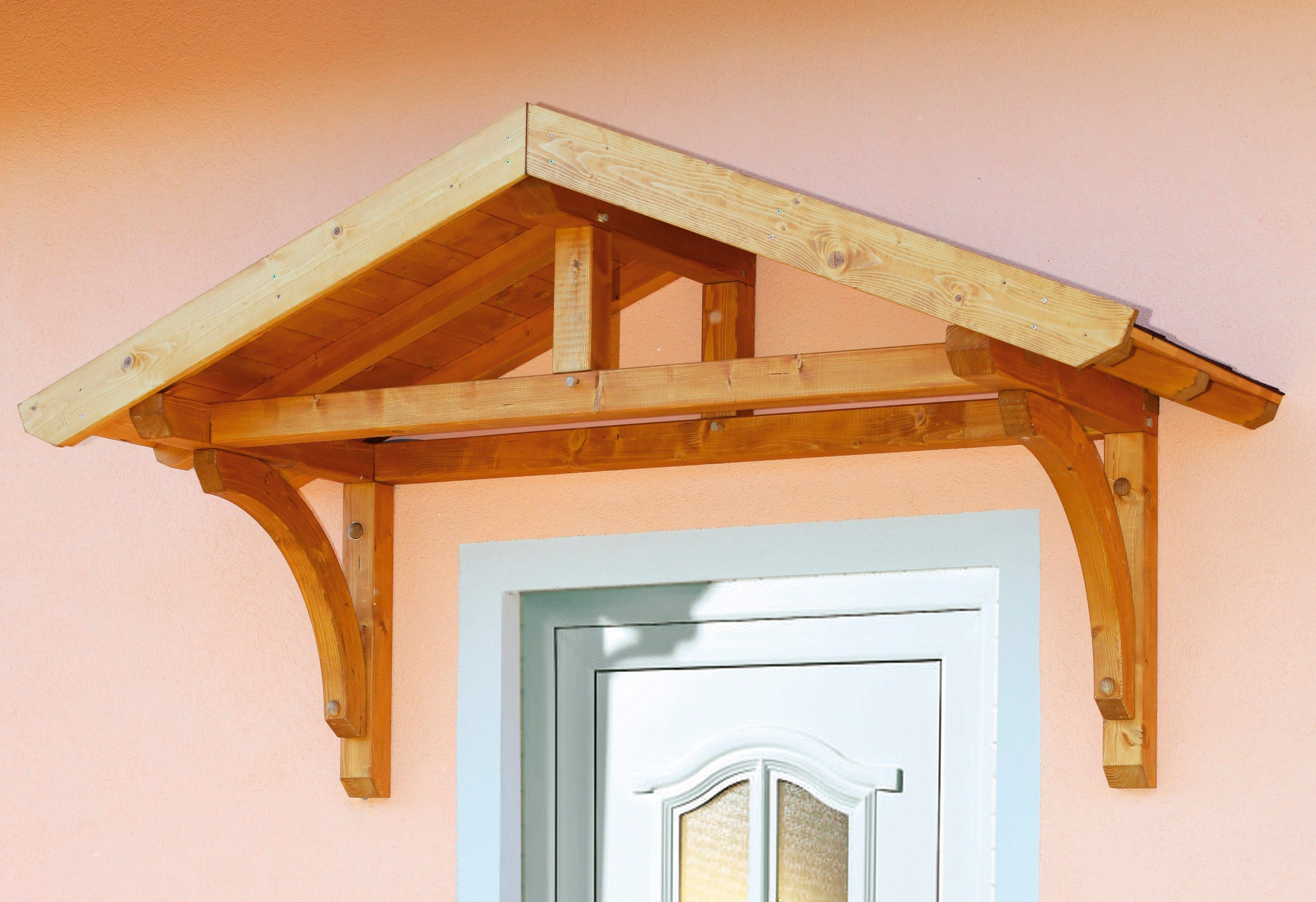 Skanholz Set: Vordach-Set »Stettin«, BxT: 180x80 cm, inkl. roten Dachschindeln