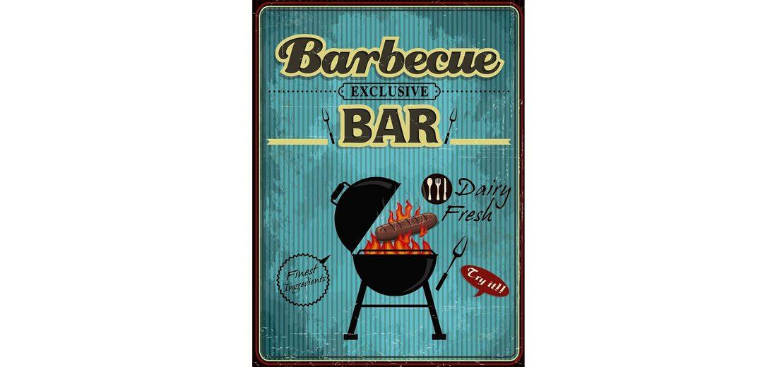Xavax Dekoschild Vintage Blechschild mit Spruch Wanddeko Metall »Barbecue, 26 x 35 cm, Schild«