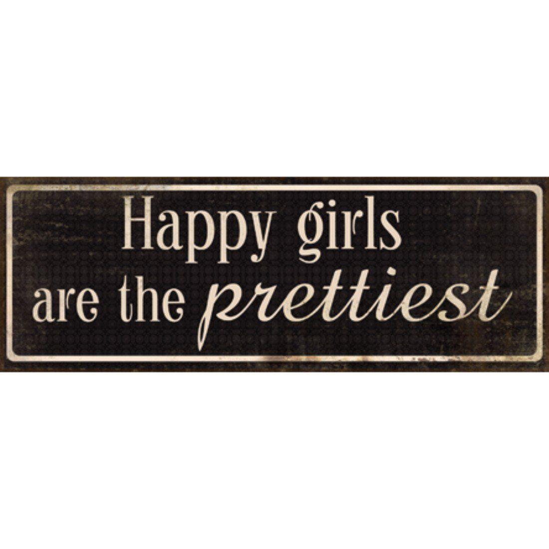 Xavax Dekoschild Vintage Blechschild mit Spruch Wanddeko Metall »Happy Girls, 39 x 14, Schild«