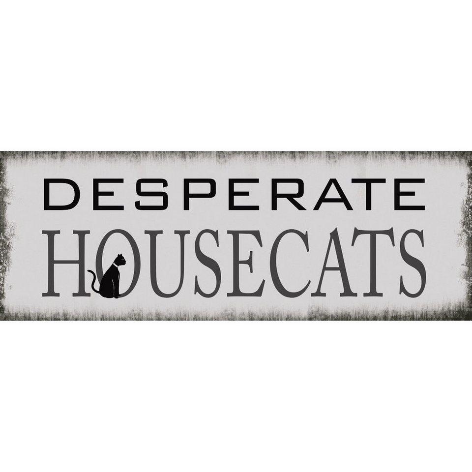 Xavax Dekoschild Vintage Blechschild mit Spruch Wanddeko Metall »Desperate Housecats, 39 x 14cm« in weiß