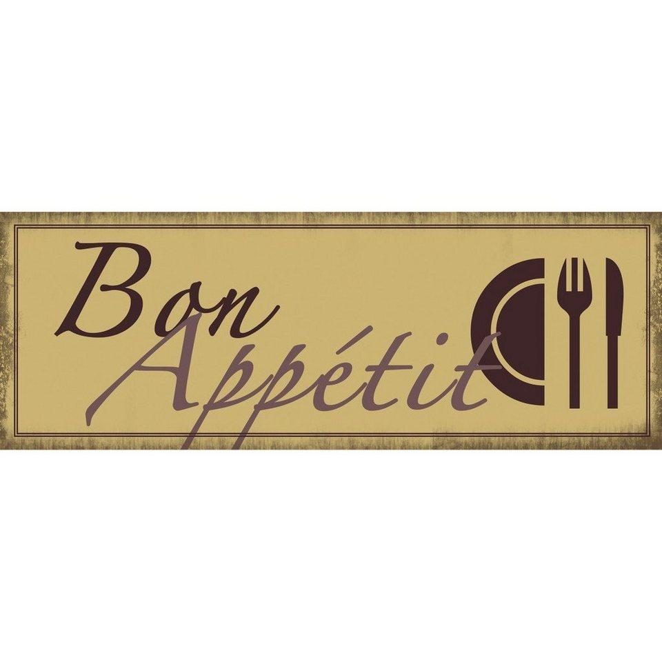 Xavax Dekoschild Vintage Blechschild mit Spruch Wanddeko Metall »Bon Appétit, 39 x 14 cm« in gelb