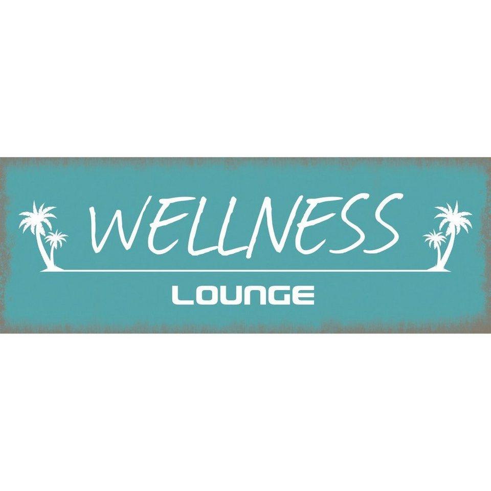 Xavax Dekoschild Vintage Blechschild mit Spruch Wanddeko Metall »Wellness Lounge, 39 x 14 cm«
