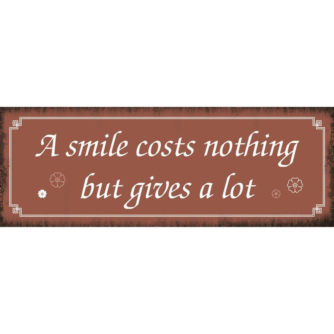 Xavax Dekoschild Vintage Blechschild mit Spruch Wanddeko Metall »Smile, 39 x 14 cm, Schild«