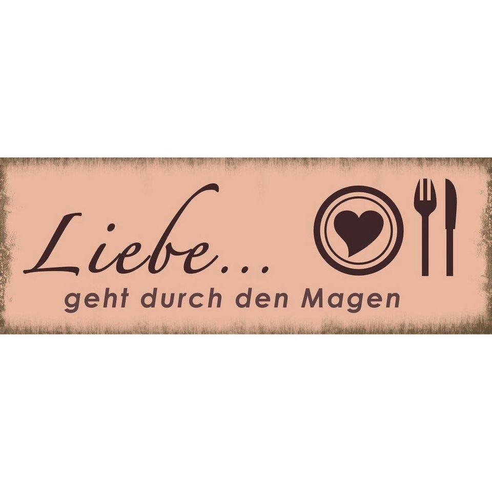 Xavax Dekoschild Vintage Blechschild mit Spruch Wanddeko Metall »Liebe, 39 x 14 cm, Schild« in rosa