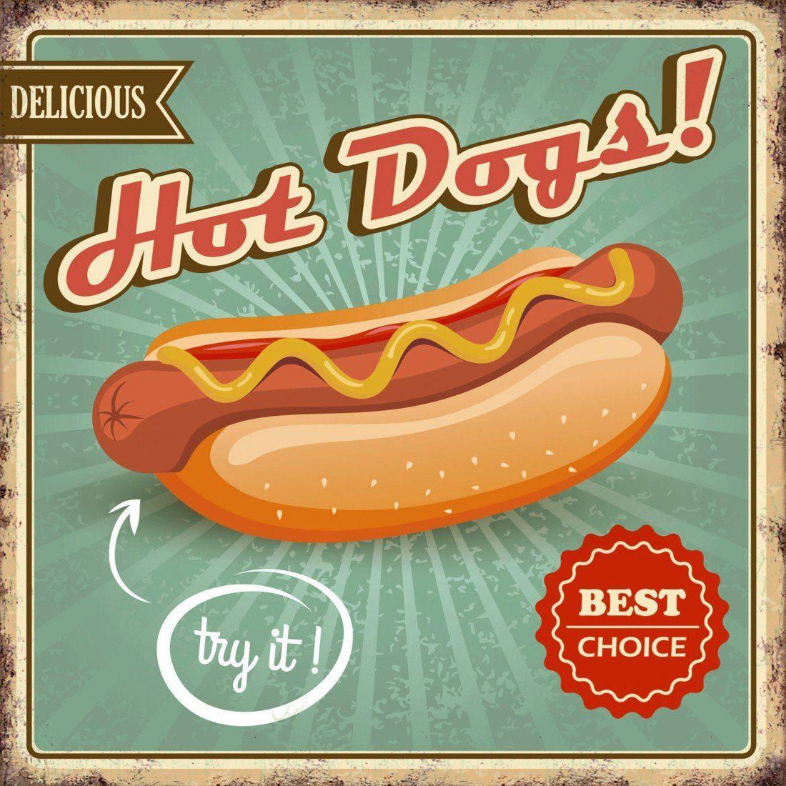 Xavax Dekoschild Vintage Blechschild mit Spruch Wanddeko Metall »Hot Dogs, 25 x 25 cm, Schild«
