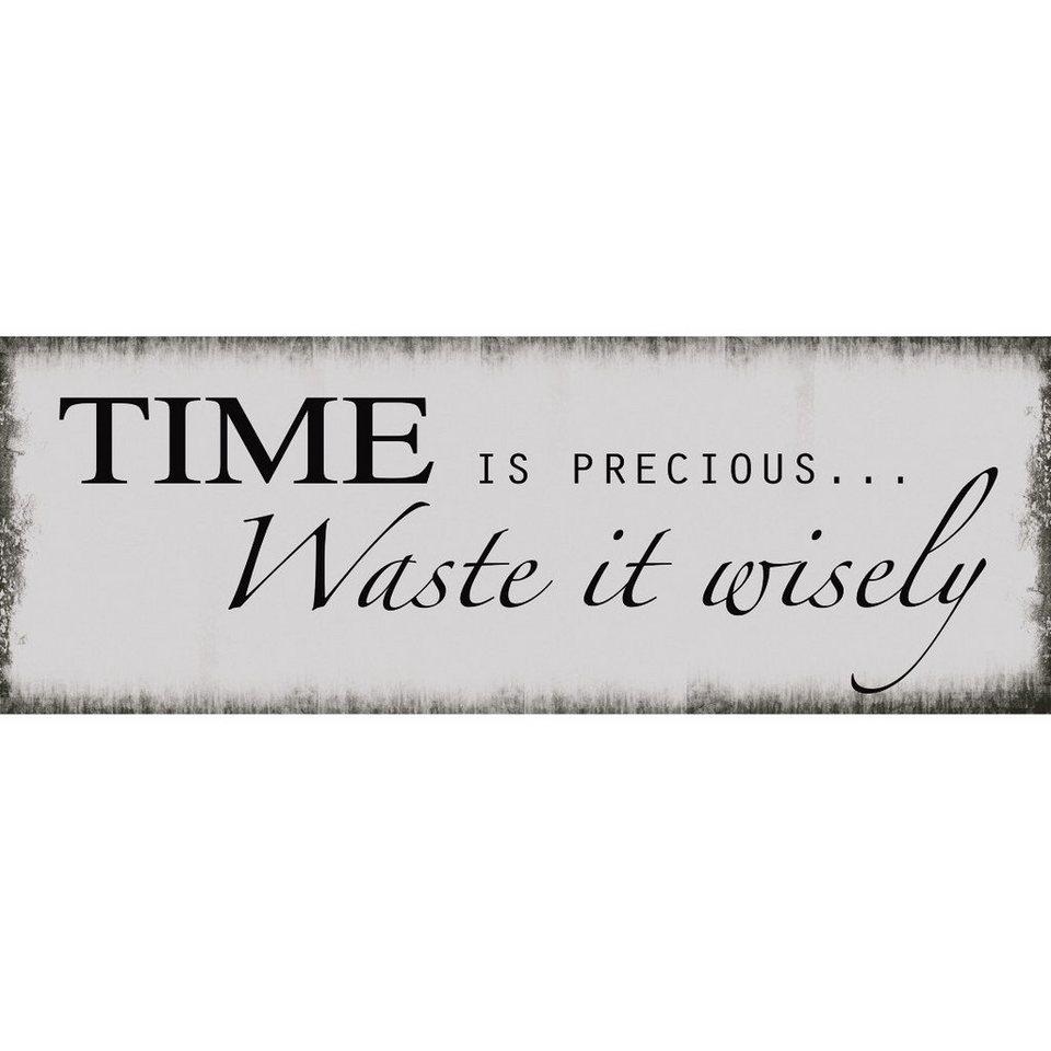 Xavax Dekoschild Vintage Blechschild mit Spruch Wanddeko Metall »Time, 39 x 14 cm, Schild«