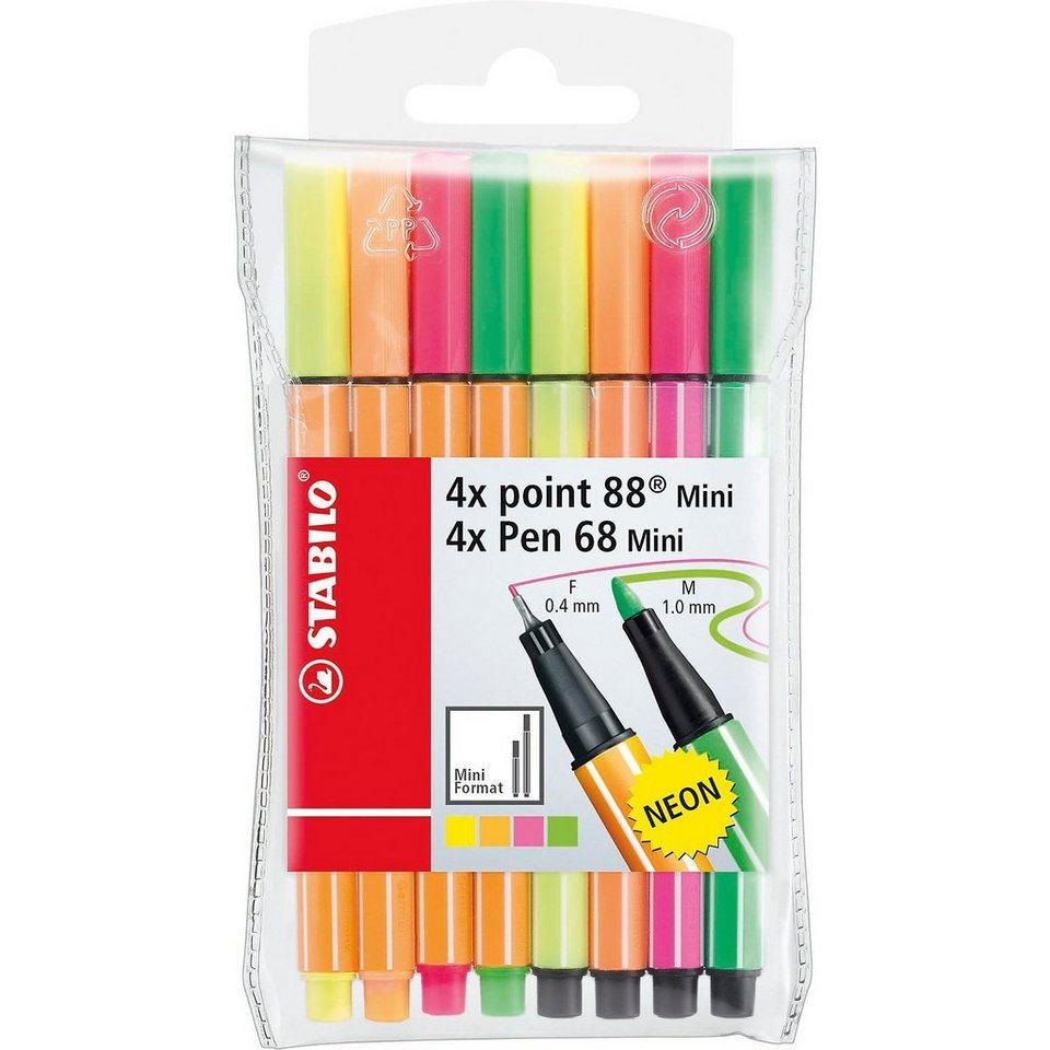 Stabilo Mix point 88 & Pen 68 Mini, 8 Farben