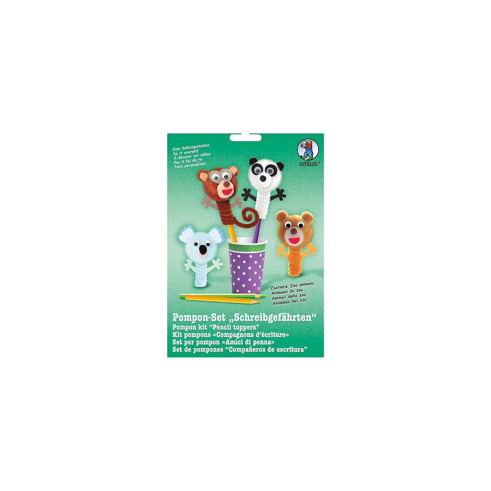 URSUS Pomponset Schreibgefährten Zootiere, 4 Figuren