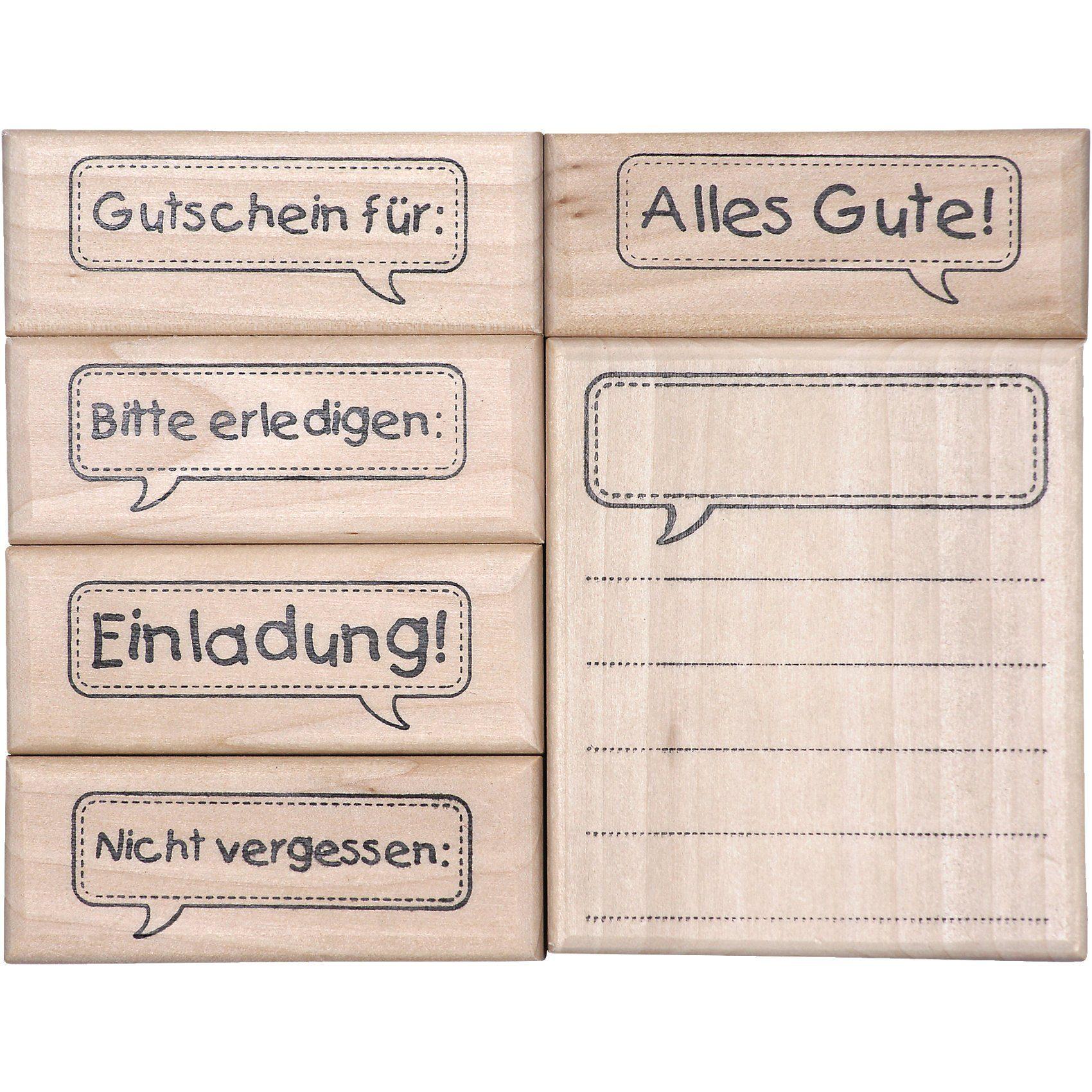 SUNNYSUE Holzstempelset Sprechblasenpost, 6-tlg.