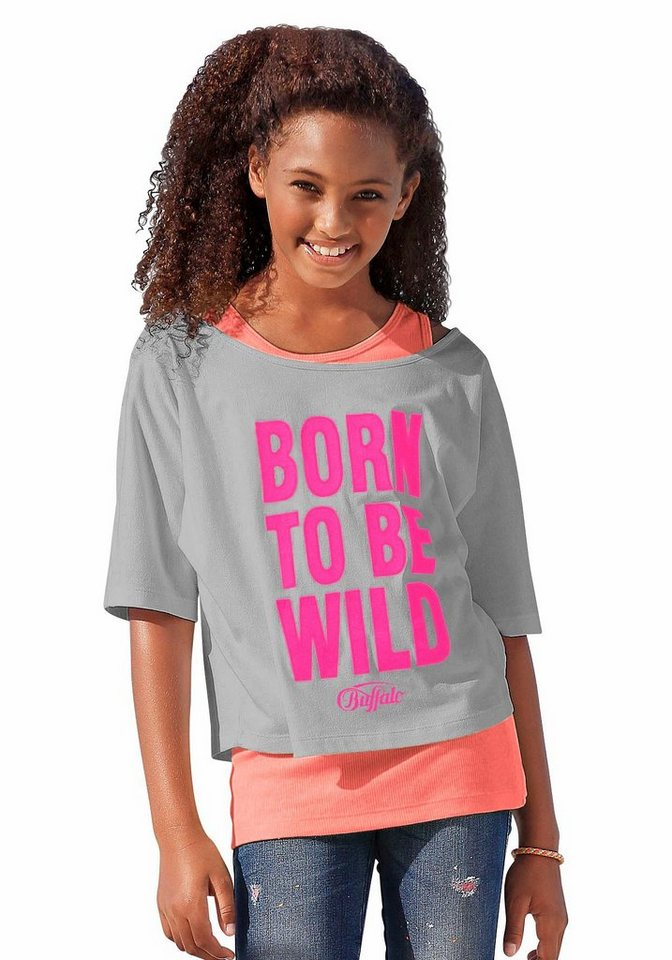 Buffalo Shirt & Top (Set, 2-tlg.), für Mädchen in Grau-Neonorange